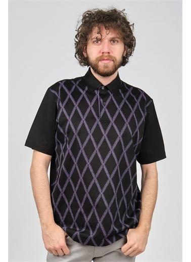 Arslanlı Arslanlı Erkek Baklava Desenli Polo Yaka T-Shirt  Siyah